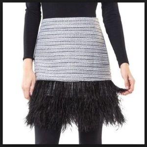 Sail to Sable Metallic Tweed Feather Mini Skirt